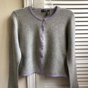 Gray NWOT button down sweater w/lilac trim. 💜
